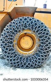 Snow chain on a truck's tyre
