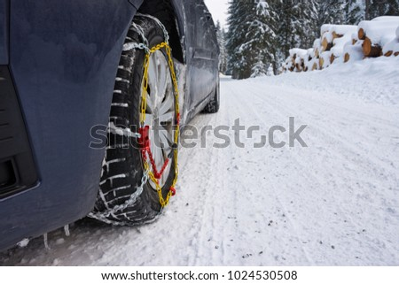 Snow Chains Mounted On Front Car Stock Photo Edit Now 1024530508