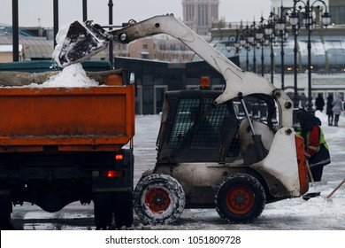 Snow cleaning in the city after a snowfall