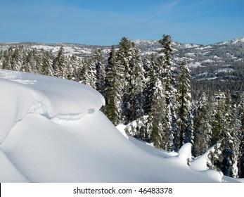 Snow cornice, Donner Summit, near Truckee, California