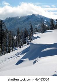 Snow cornice near Donner Summit, near Truckee, California