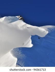 Snow cornice on Mont Blanc du Tacul, France