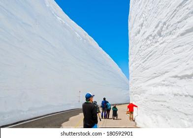 Snow corridor in Japan