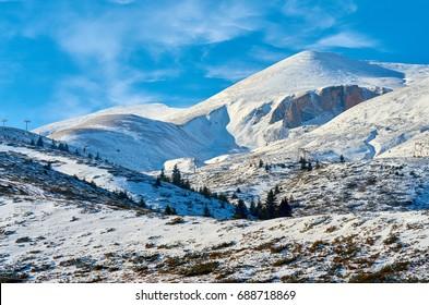 Snow cover on mountain peak - Macedonia