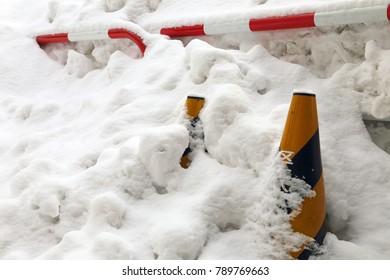The snow coverd Traffic cones