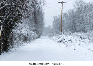A snow covered alley in West Virginia