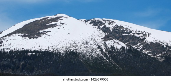 Snow Covered Alpine Peaks with Pine Trees at their Base, Frisco, CO (June 17, 2019)