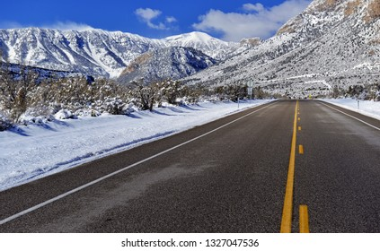 Snow covered alpine terrain in the Mount Charleston region, popular hiking and climbing spots in the Spring Mountains, near Las Vegas Nevada