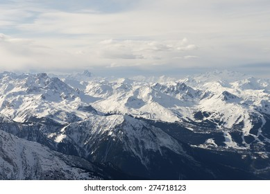 Snow covered alps mountains aerial view