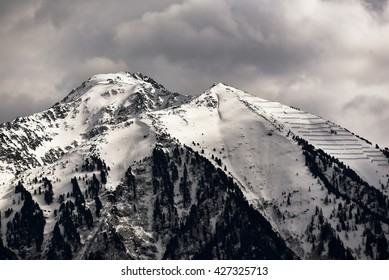 The snow covered Alps in Switzerland.  Photo taken near Martigny in Canton Valais.