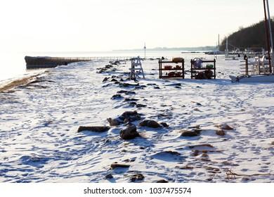 Snow covered beach.