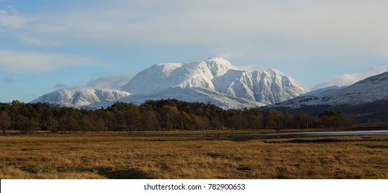 A snow covered Ben Nevis in December taken from Inverscaddle Bay at Cona Glen on the shores of Loch Linnhe in Lochaber.