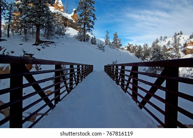 Snow covered bridge in winter