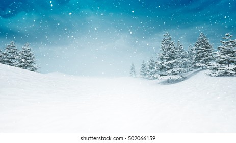snow covered calm winter landscape at snowfall, snowy trees with blue sky background 3D illustration
