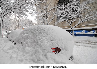 Snow covered car after snowstorm in New York