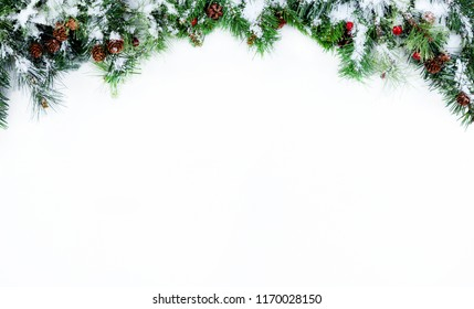 Snow covered Christmas tree evergreen branches placed on top of a white background