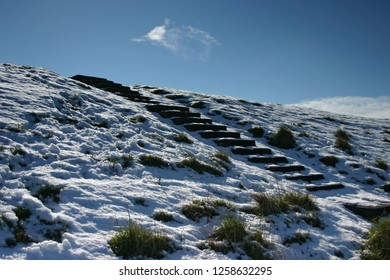 Snow covered dike near Ouddorp in the Netherlands