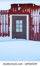 Snow covered door in the house