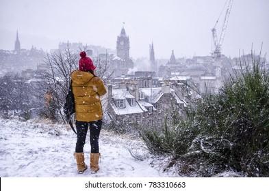 Snow Covered Edinburgh City, Scotland