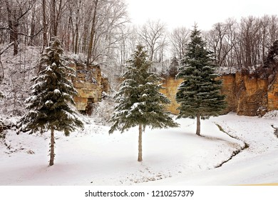 The snow covered evergreen Spruce Trees are in front of a rock quarry in a winter landscape.