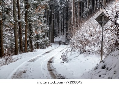 A snow covered forest road winds through the mountains of Nagano Prefecture, Japan.