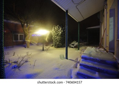 Snow covered garden in the backyard, winter night time.