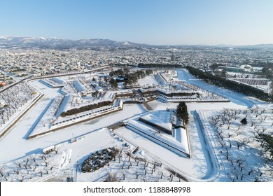 Snow Covered Goryokaku in Hakodate, Hokkaido
