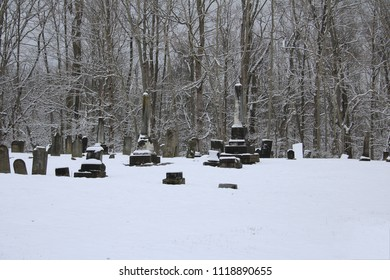 Snow covered graves against a bare tree background