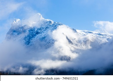 snow covered icy mountains peaks