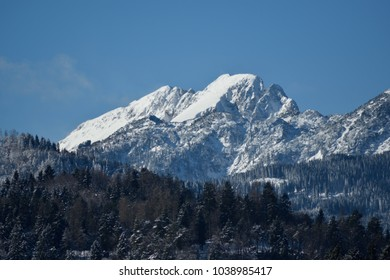 The snow covered Julian Alps around Bled, Slovenia