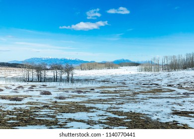Snow Covered Landscape in USA in Southwestern Utah Along Scenic Byway 12