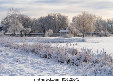 Snow covered local lake park just after sunrise following an early Spring snow storm. Photo shot locally March 2018 with art photography lens to schive soft effects.