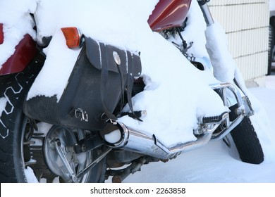snow covered motorcycle