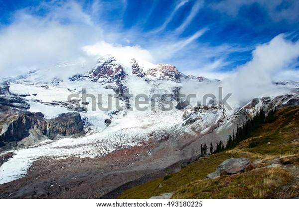 Snow covered Mount Rainier, near Tacoma, Washington, United States