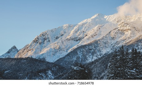 A snow covered mountain range in Tirol, Austria. Shot in early evening.