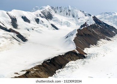 Snow covered mountain ridges in Kluane National Park, Yukon, Canada