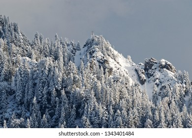 Snow covered mountain scape in the alps in Oberammergau, Germany, in bavaria