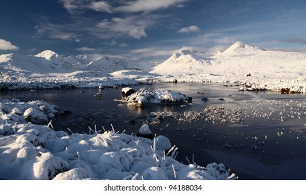Snow covered mountain scenery and loch