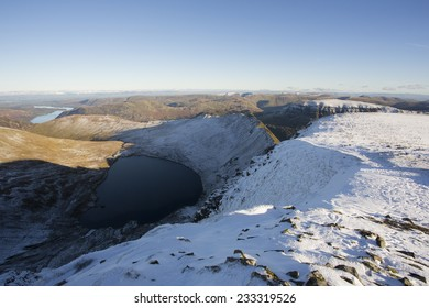 snow covered mountain in sunlight, helvellyn, cumbria