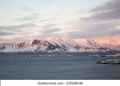 Snow Covered Mountain at Sunset