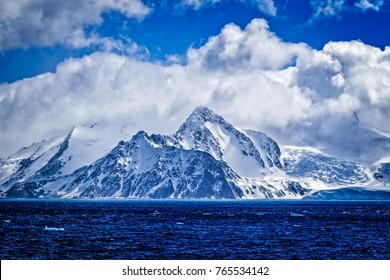 snow covered mountains of Elephant Island in Antarctica