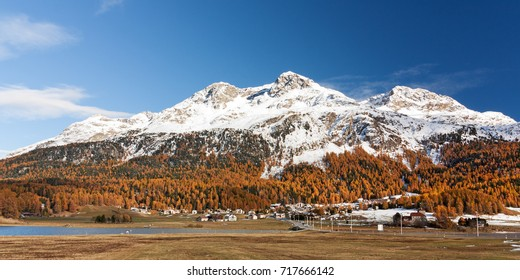 Snow covered mountains near Silvaplana in the Engadine valley in Grisons, Switzerland. Piz Rosatsch, Piz Surlej and Munt Arlas from left to right. Autumn landscape with larches in autumn foliage.