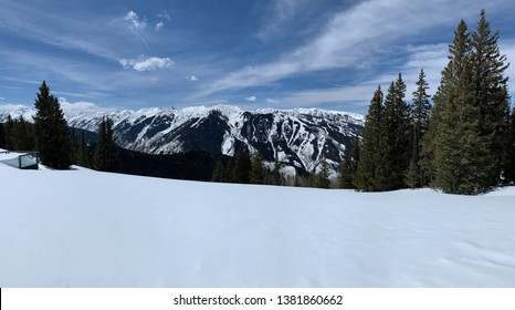 Snow covered mountains with Pine trees and blue skies