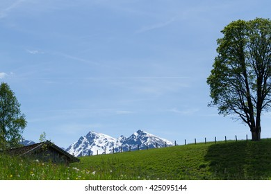 Snow covered mountains in Tirol in spring