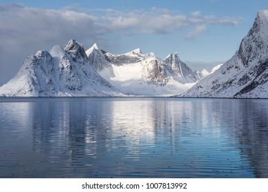 Snow covered mountains in winter, Hamnoy, Reine, Lofoten Islands, Norway