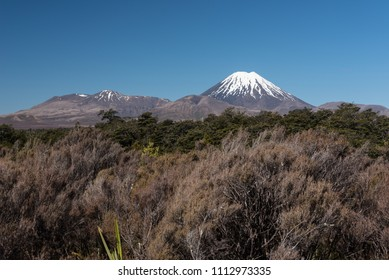 Snow covered Mounts Ngauruhoe and Tongariro, two active volcanos on the Central Plateau of the North Island of New Zealand. Viewed from the west.