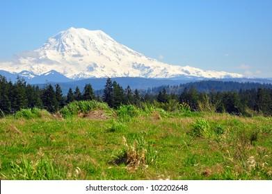 Snow covered Mt Rainier on a sunny Spring day