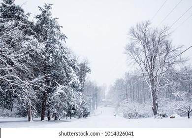 Snow Covered Neighborhood Roads