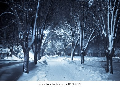 Snow covered path lit by street lights