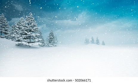 snow covered peaceful winter landscape at snowfall, snowy trees with blue sky background 3D illustration